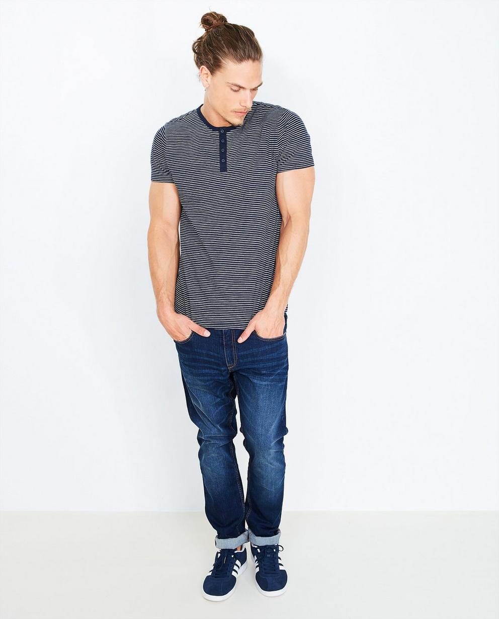 Gestreept T-shirt - in donkerblauw-wit - Quarterback